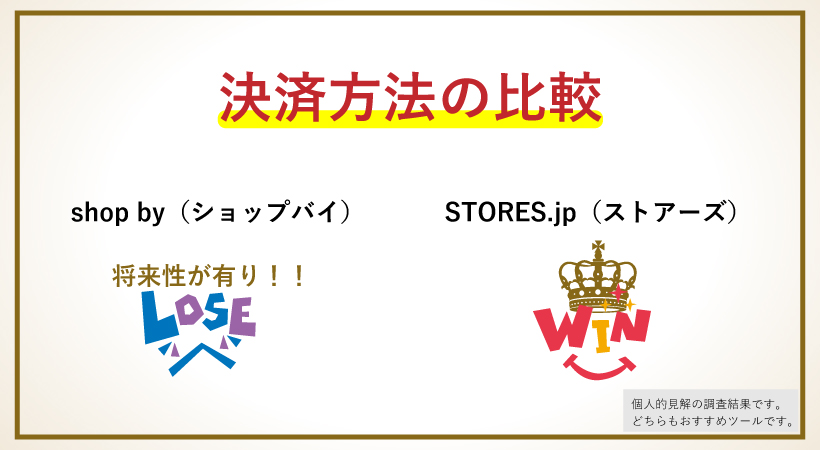 shop.byとSTORES.jpの決済方法を比較