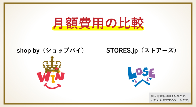 shop byとSTORES.jpの月額費用で比較